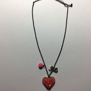 Pink heart bow and flower necklace